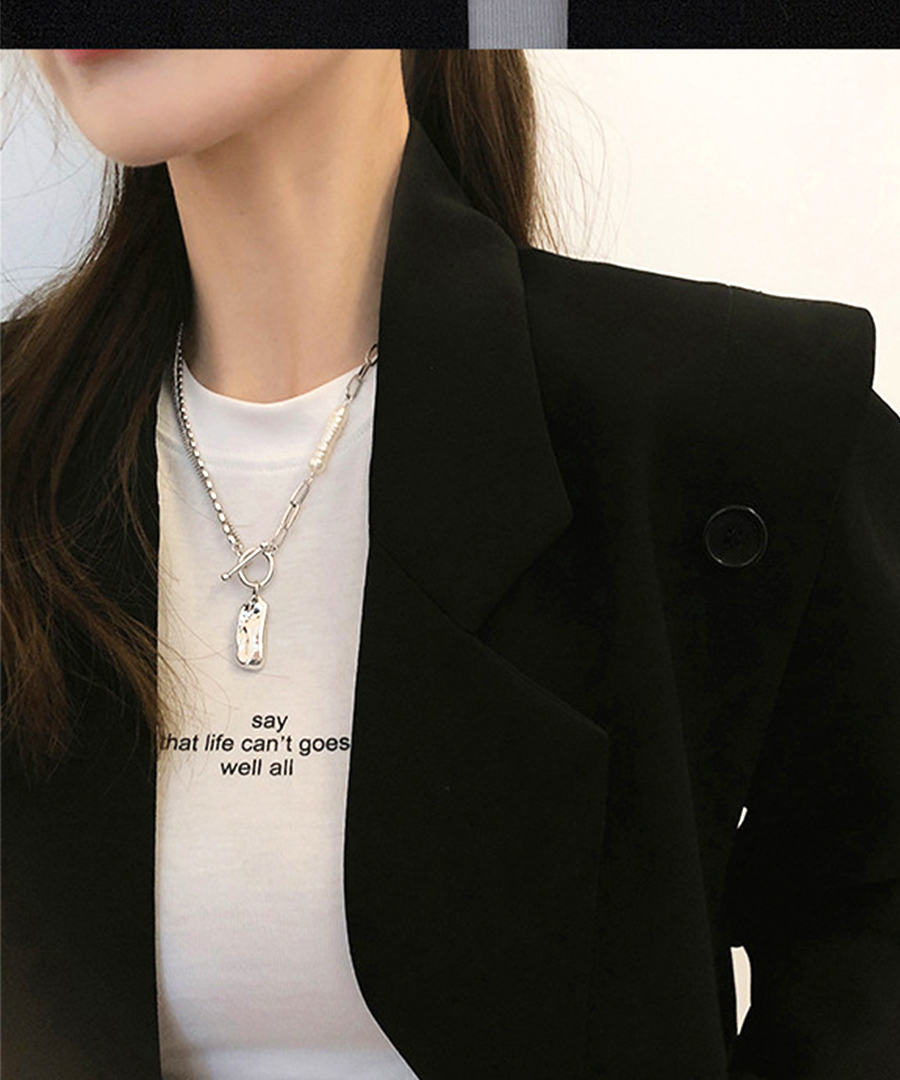 White gold coating pearl necklace 26112【メール便配送対応】