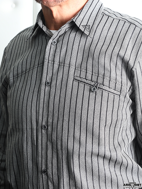 ATメッシュストライプシャツ