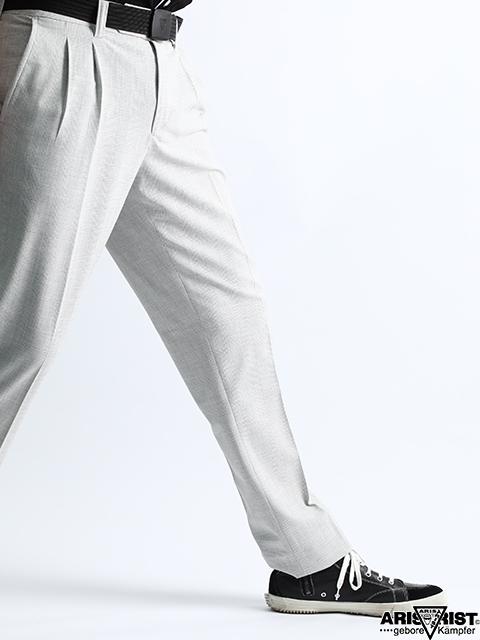 【ウインターセール】ATホワイトチェックプリーツパンツ