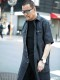 【ウインターセール】ATブラックコットンロングシャツ
