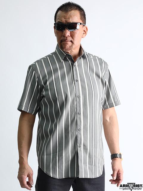 ATグレーストライプシャツ