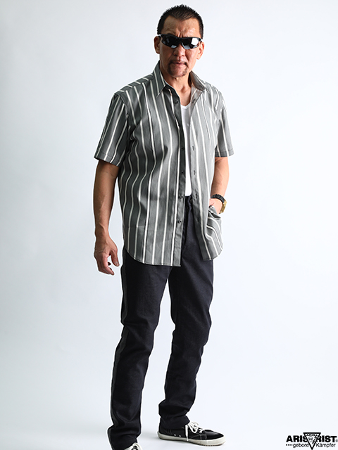 【ウインターセール】ATグレーストライプシャツ