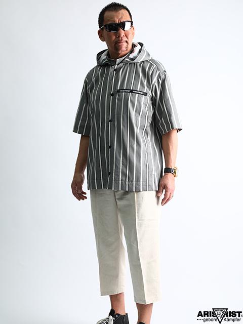 ATフーデッドロールアップシャツジャケット