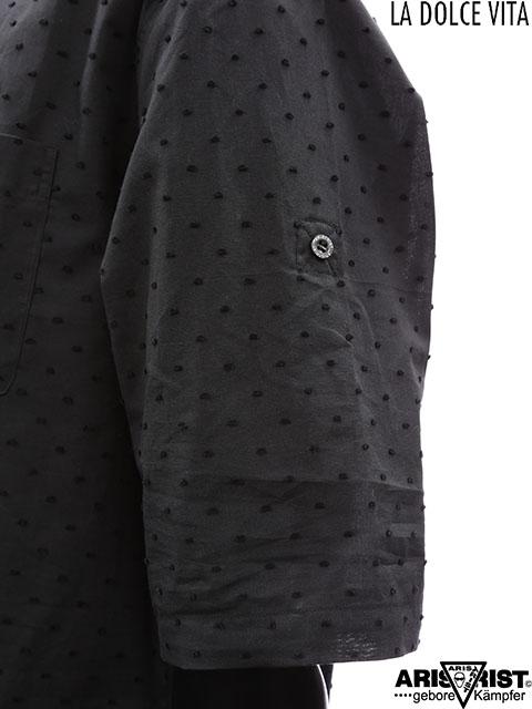ATブラックポルカドットロールアップシャツ