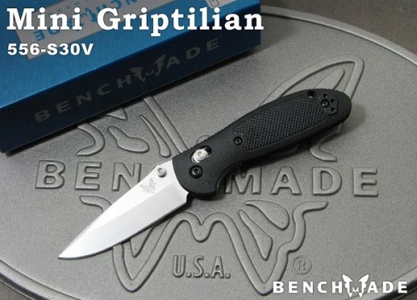 ベンチメイド 556-S30V ミニ・グリップティリアン シルバー 直刃  ナイフ,BENCHMADE