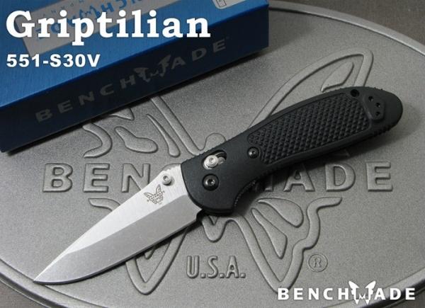 ベンチメイド 551-S30V グリップティリアン シルバー直刃 ,折り畳みナイフ ,BENCHMADE Griptilian