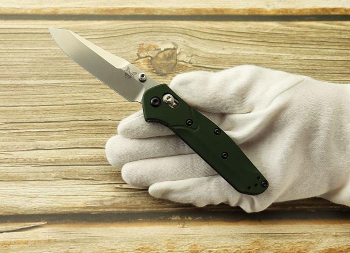 ベンチメイド 945 ミニ オズボーン シルバー直刃,グリーンハンドル 折り畳みナイフ,BENCHMADE Mini Osborne Folding Knife【日本正規品】