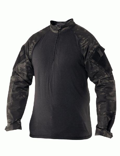 トゥルースペック/TRU-SPEC 1/4 ジップ コンバット シャツ マルチカム ブラック MR 【レターパック便配送可】
