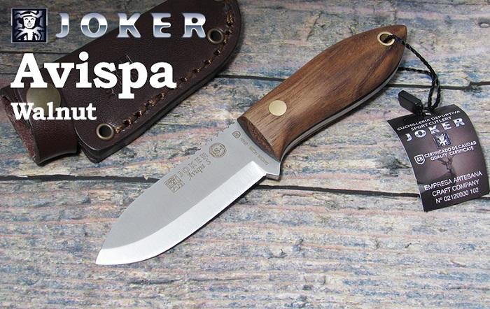 ジョーカー CN121 アビスパ ウォールナット ブッシュクラフトナイフ,Joker AVISPA SCANDI BUSHCRAFT KNIFE WALNUT HANDLE