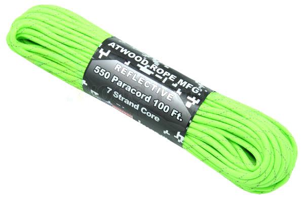 アトウッド ロープ/ATWOOD ROPE パラコード 30M  リフレクティブ ネオン グリーン 【1コまでメール便/4コまでレターパックプラス便配送可】