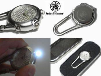 スミス&ウェッソン/S&W カラビナウォッチ LED ライト付 腕時計 SW36BLK