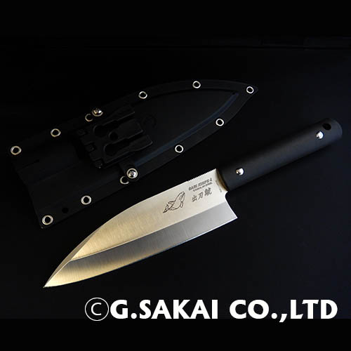G・SAKAI サカイ サビナイフ4 出刃 包丁 シャチ 鯱 両刃(もろは) ブラック