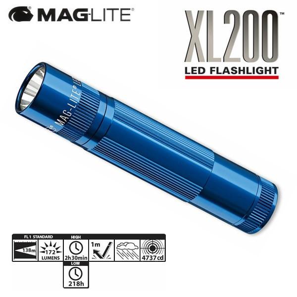 マグライト/MAGLITE  5モード LED フラッシュライト XL200 青 懐中電灯 ケース付