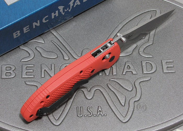 ベンチメイド 551-ORG-S30V グリップティリアン シルバー直刃 ,オレンジハンドル 折り畳みナイフ ,BENCHMADE Griptilian【日本正規品】
