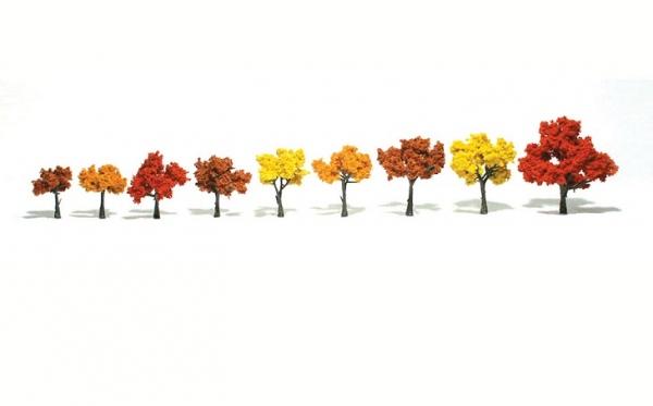 ウッドランド 完成樹木 広葉樹 紅葉色 H約3-7.5cm 9本入
