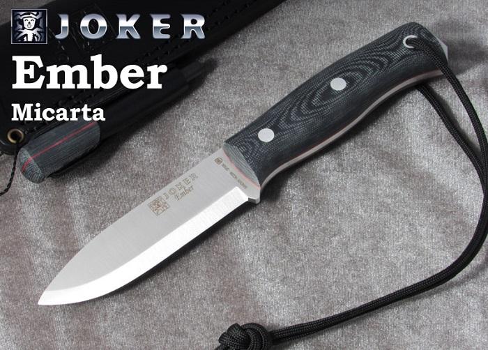 ジョーカー CM122-P エンバー マイカルタ ファイヤースターター付 ブッシュクラフトナイフ,Joker EMBER SCANDI BUSHCRAFT KNIFE MICARTA HANDLE