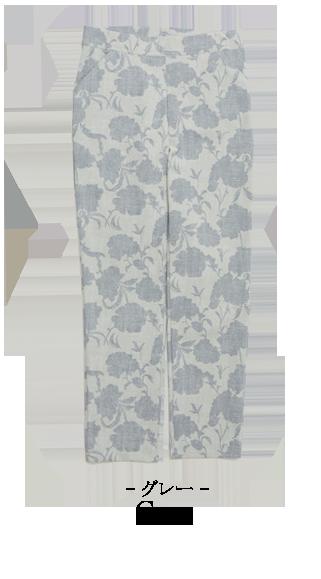 ストレッチパンツ シャドー フラワー 京 プリント テーパードパンツ レディース 日本製 M L LL 3L