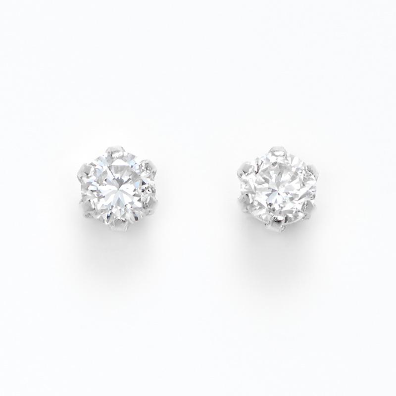 K18WGラボグロウンダイヤモンド 0.1ctひと粒ピアス ペア