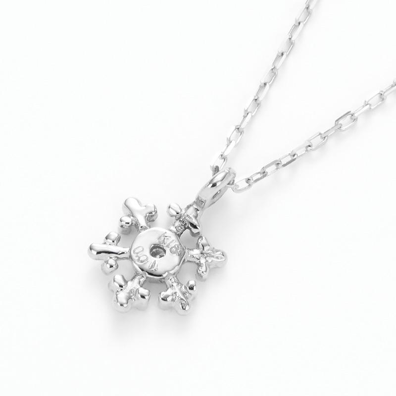 K18WGラボグロウンダイヤモンド スノーペンダントネックレス
