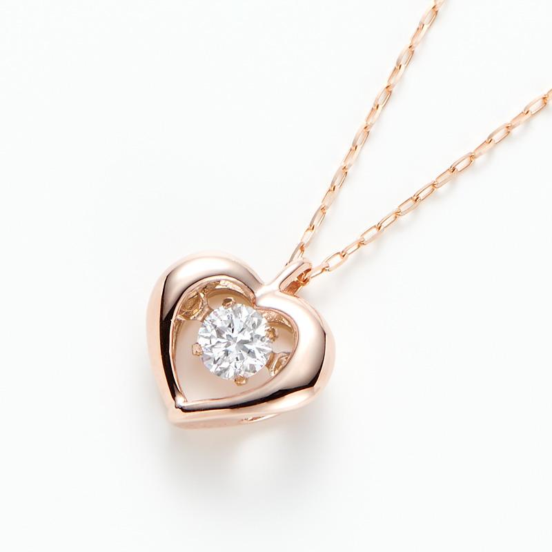 ラボグロウンダイヤモンド ダンシングハートペンダントネックレス (オーダー品・プラチナ・イエローゴールド・ピンクゴールドが選べます)