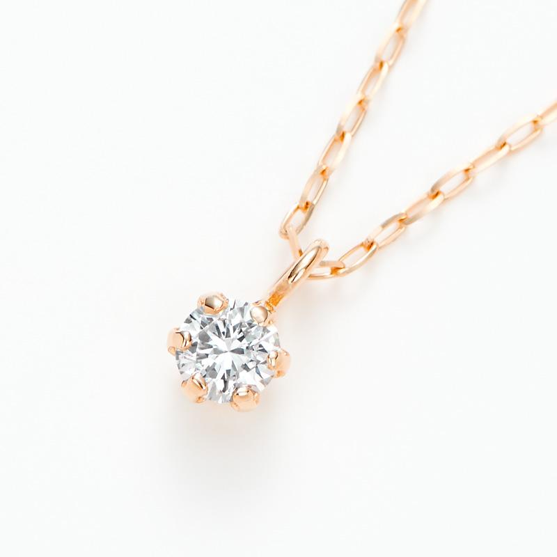 K18PGラボグロウンダイヤモンド 0.05ctプチペンダントネックレス