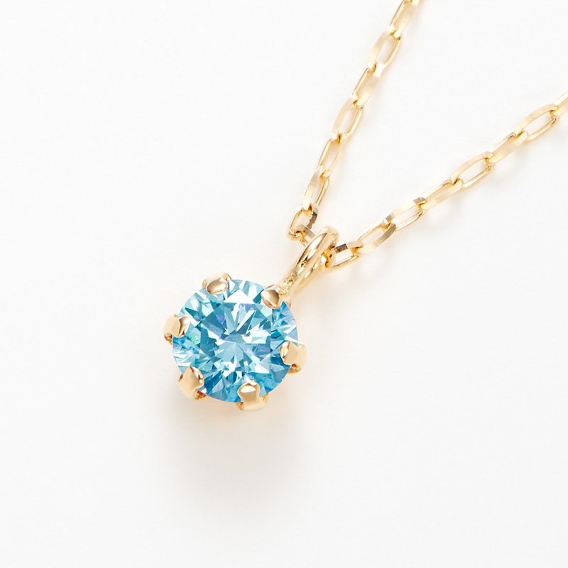 K18ラボグロウンブルーダイヤモンド 0.10ctプチペンダントネックレス