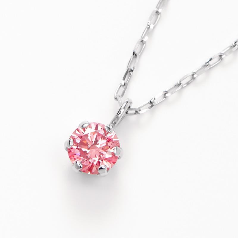 PT900ラボグロウンピンクダイヤモンド 0.10ctプチペンダントネックレス