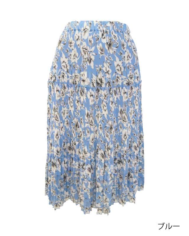 上品フリルのシフォンプリントプリーツスカート