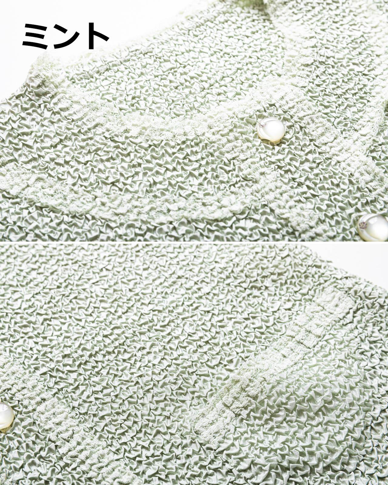上品レース使い刺繍プリーツジャケット コサージュ付き