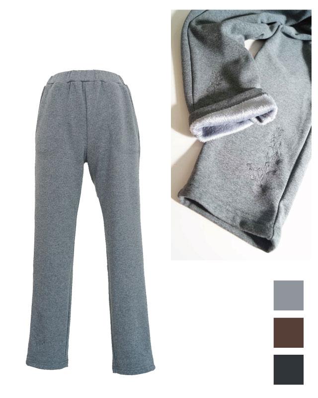 シルエット綺麗な暖か刺繍パンツ
