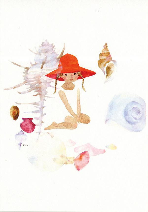 いわさきちひろ ポストカード 貝がらと赤い帽子の少女