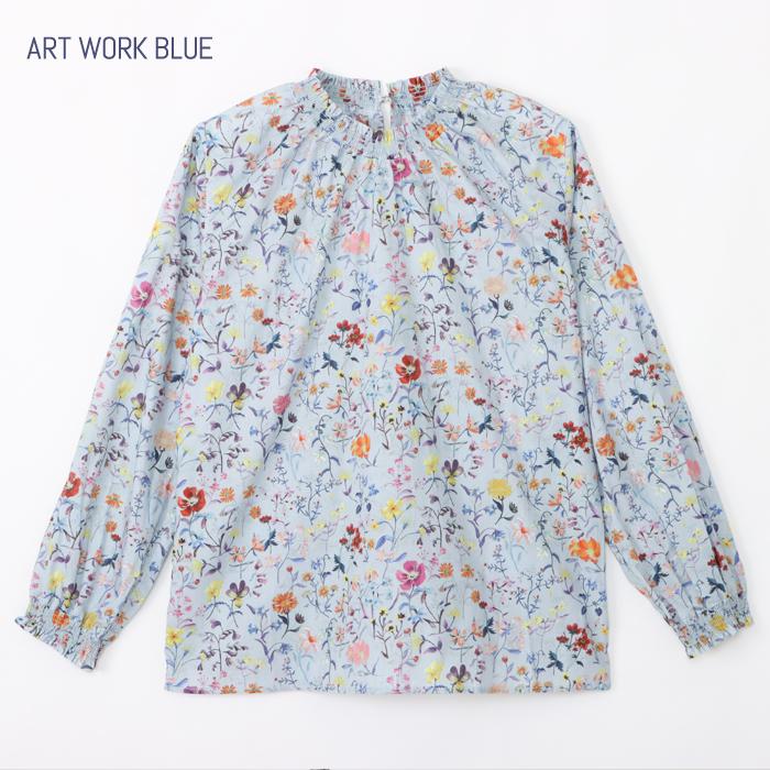 リバティプリント リネンガーデン/ART WORK BLUEL シャーリングブラウス 長袖シャツ 2021年秋冬限定柄 新作