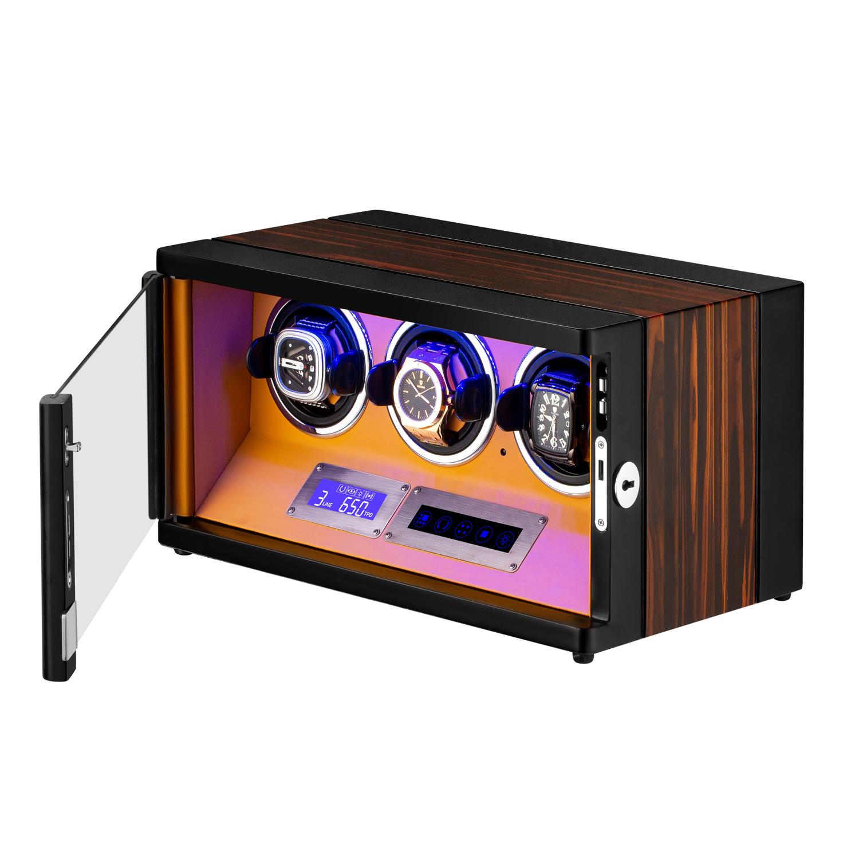 HOKUTO ワインディングマシーン 腕時計自動巻き器 ウォッチワインダー 3本巻き上げLEDライト付き 超静音