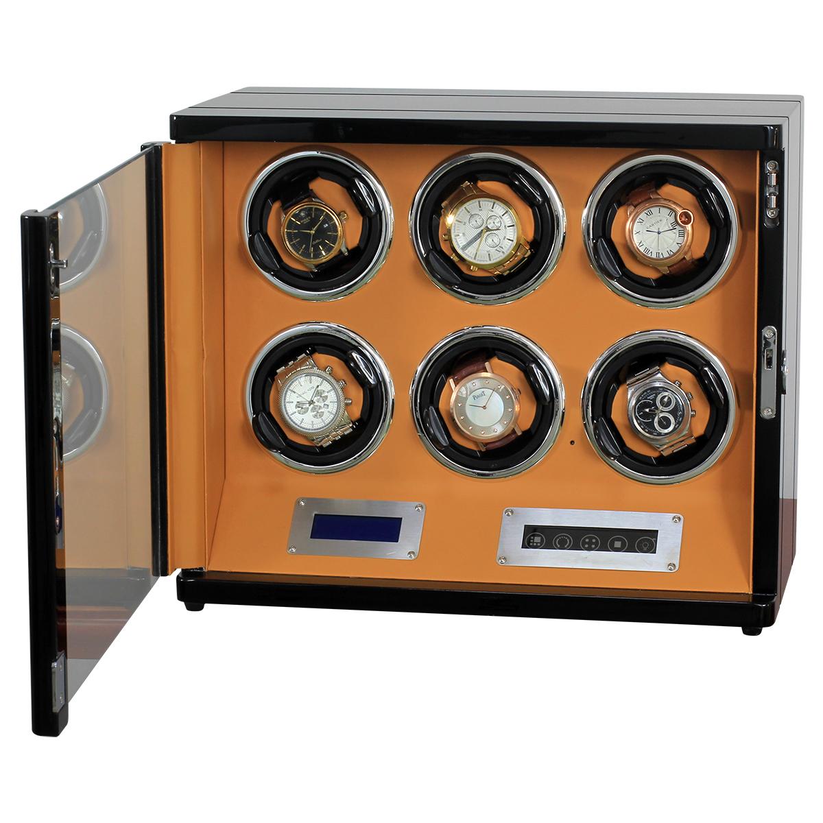 HOKUTO ワインディングマシーン 腕時計自動巻き器 ウォッチワインダー 6本巻き上げLEDライト付き 超静音
