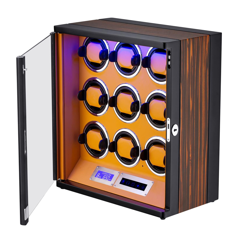 HOKUTO ワインディングマシーン 腕時計自動巻き器 ウォッチワインダー 9本巻き上げLEDライト付き 超静音