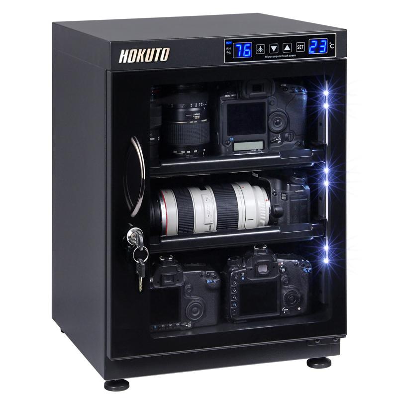HOKUTO防湿庫・ドライボックス HBシリーズ68L 5年保証送料無料 タッチスクリーン搭載全自動除湿機能 省エネ機能搭載 内蔵LED カメラやレンズのカビ対策楽々、静音、無振動カメラ保管庫 デシケーター カメラカビ対策 除湿庫 レンズカビ対策 ドライキャビネッ
