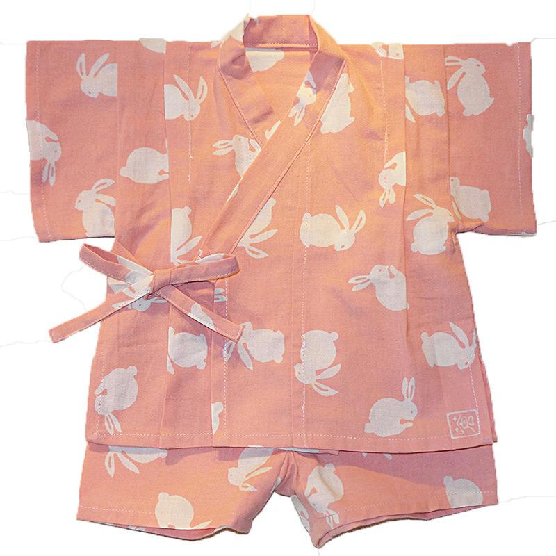 手ぬぐい赤ちゃん甚平「うさぎ(ピンク)」