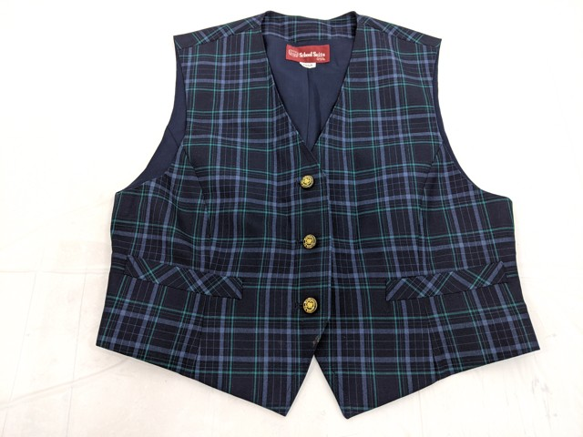 j91 横浜市緑が丘中学校 ベスト+夏服スカート+ネクタイ/yt2654【8JSF】