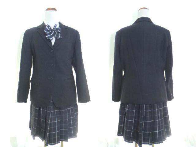 Z59 大阪 好文学園女子高校 ブレザー 170A+冬スカート+リボン/yt0513【8CFF】