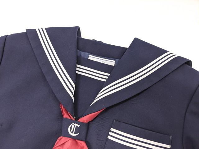 f42 加古川市立中部中学校 冬服セーラー服+夏服スカート+スカーフ/yt2157【6JBJ】