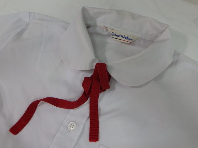 R08 聖霊中学校 ジャンパースカート+長袖シャツ+リボン+校章付き??ベレー帽/yt1690【4XKWF】