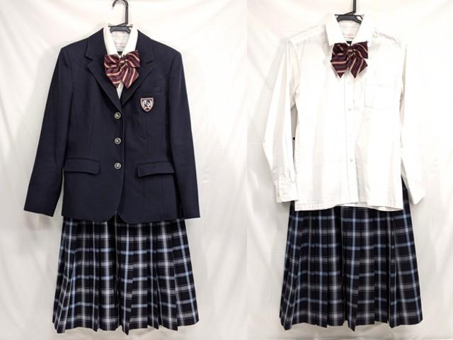 Z86 愛知県神丘中学校 ブレザー+長袖シャツ+冬服スカート+リボン/yt2613【9KWF】