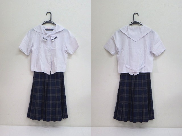 c01 福岡県 篠栗北中学校 夏服上下セット セーラー服+スカート/yt1825【5JWG】