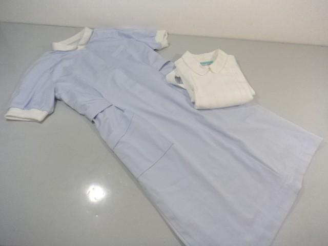 作業服 制服 ナース服 ワンピース 水白/L ナガイレーベン 2点セット/10yt368【18dk】