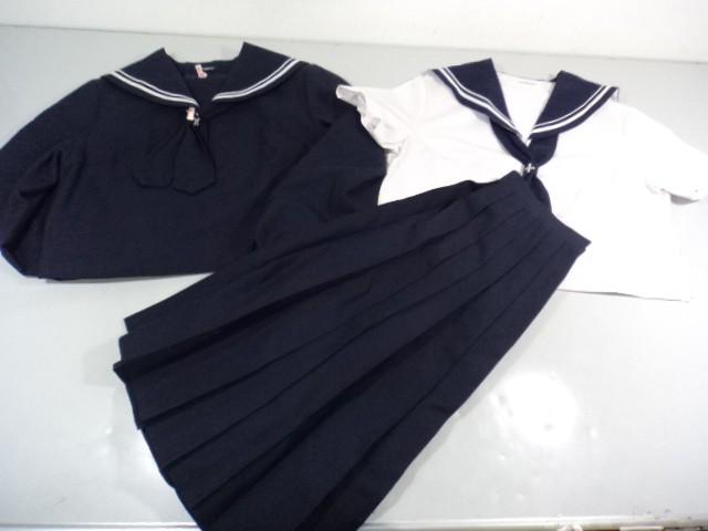 V44 中学校 高校 女子制服 セーラー服+スカート3点セット/yt0034