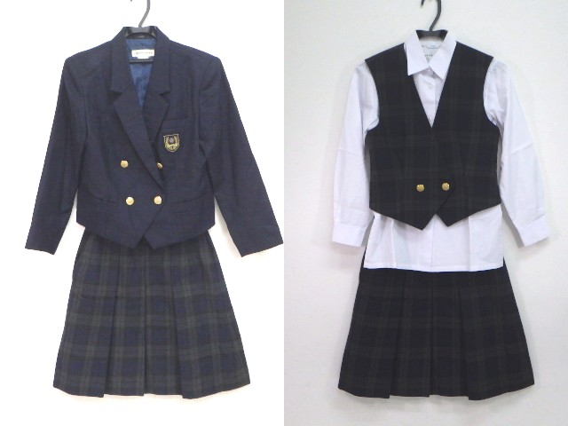 y48 東京都 淑徳高等学校 ブレザー+長袖シャツ+ベスト+冬スカート/yt1245【16GTS】