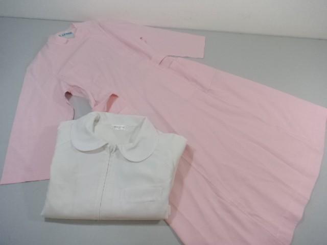 作業服 制服 ナース服 ワンピース レモール 白衣LL▼アプロン 2点セット/10yt361