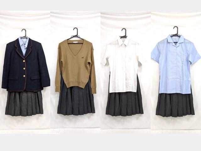 j04 愛国学園高校 ブレザー+半袖・長袖シャツ+カーデガン+冬服スカート/yt2539【3JEFH】