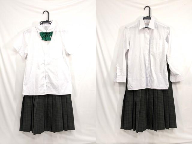 j86 中学校?? 高校?? 半袖・長袖シャツ+冬服スカート+リボン/yt2646【55PS】