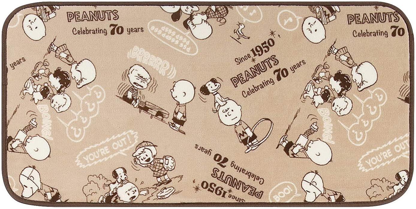 スヌーピー レトロスヌーピー インテリアマット キャラクター ラグマット ベージュ 45×90cm センコー 484702